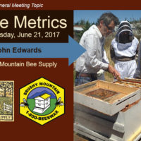 John Edwards of Brushy Mountain Bee Supply demonstrates beekeeping technique on long hive he designed.